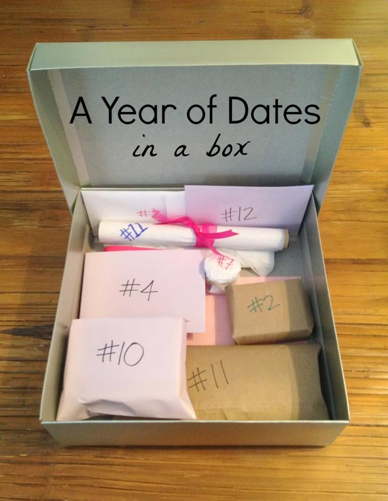 Cosa regalare ad un uomo, scatola con buste personalizzate con scritte