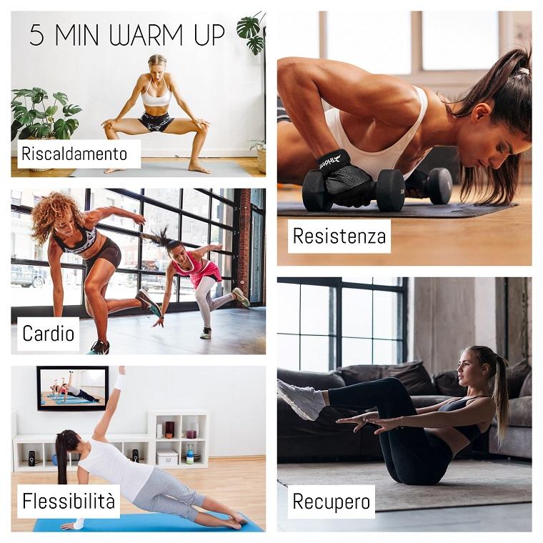 Allenamento a casa, collage di foto di donne che si allenano a casa
