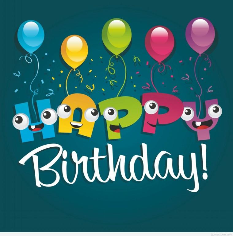 Immagine con scritta happy birthday con palloncini, immagine sfondo blu