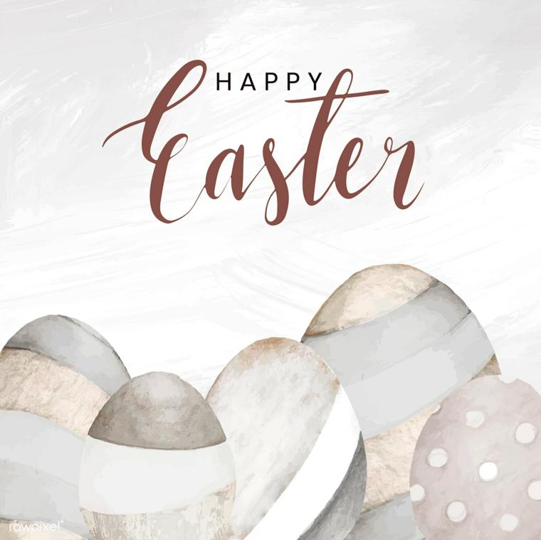 Frasi auguri di Pasqua simpatici, disegno con matite di uova pasquali con scritta