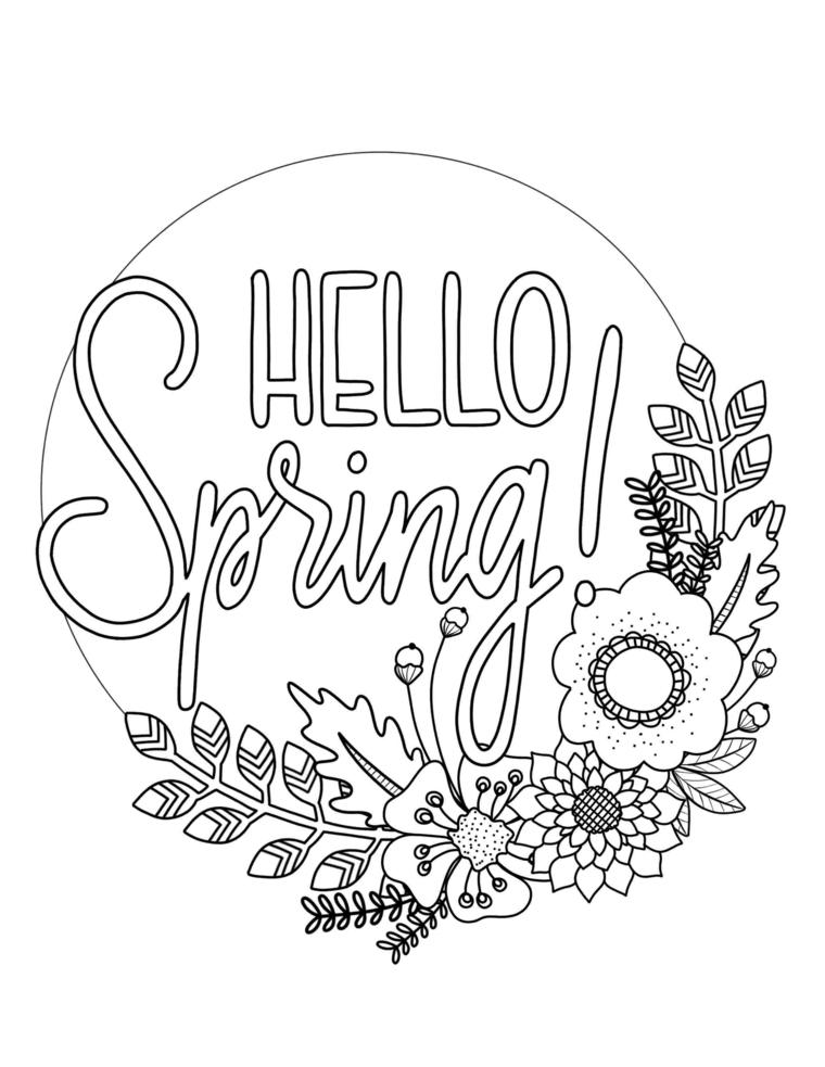 Scritta in inglese Hello Spring, disegno di foglie e fiori primaverili da colorare