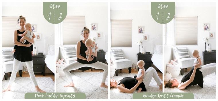 Allenamento completo a casa, donna che si allena sul tappeto in camera con un bambino
