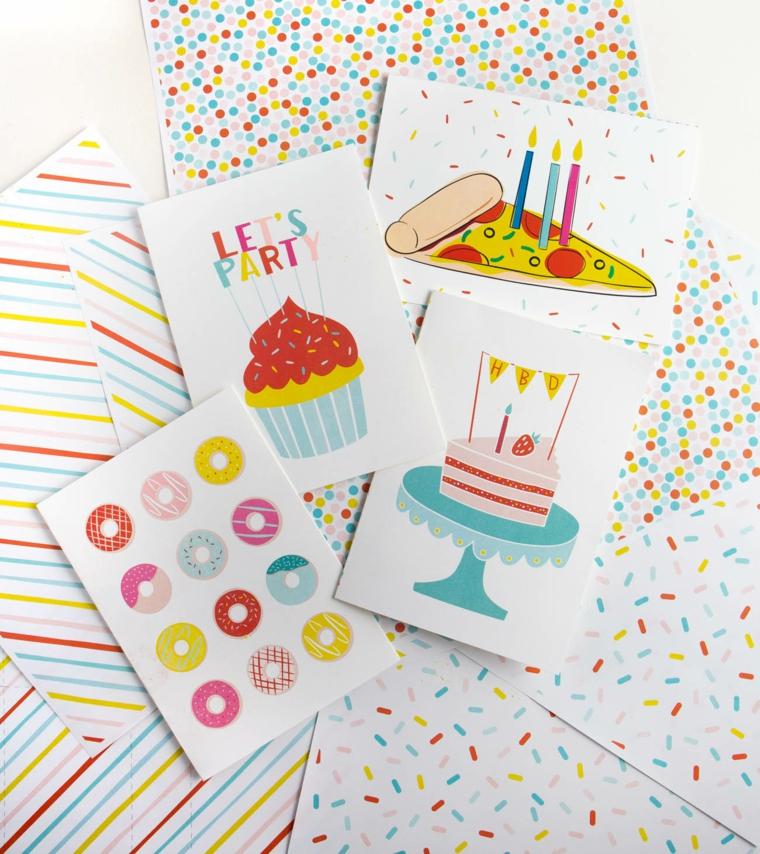 Biglietti di auguri di buon compleanno, immagine con cartoline colorate con scritte