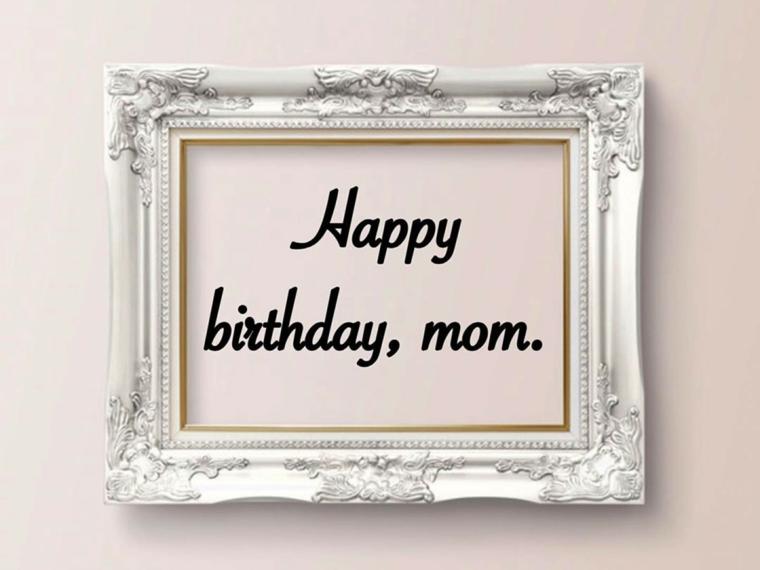 Cornice di argento con cartolina regalo compleanno, auguri di buon compleanno originali