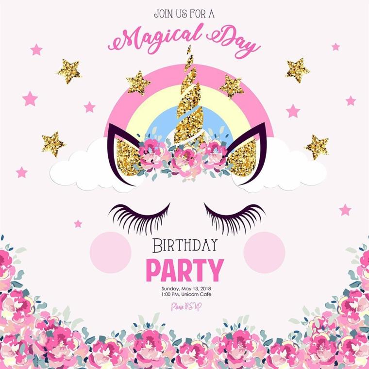 Come augurare buon compleanno, cartolina con disegno unicorno e scritta per il compleanno