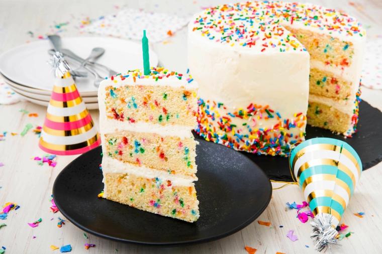 Foto di un pezzo di torta colorata, come augurare buon compleanno