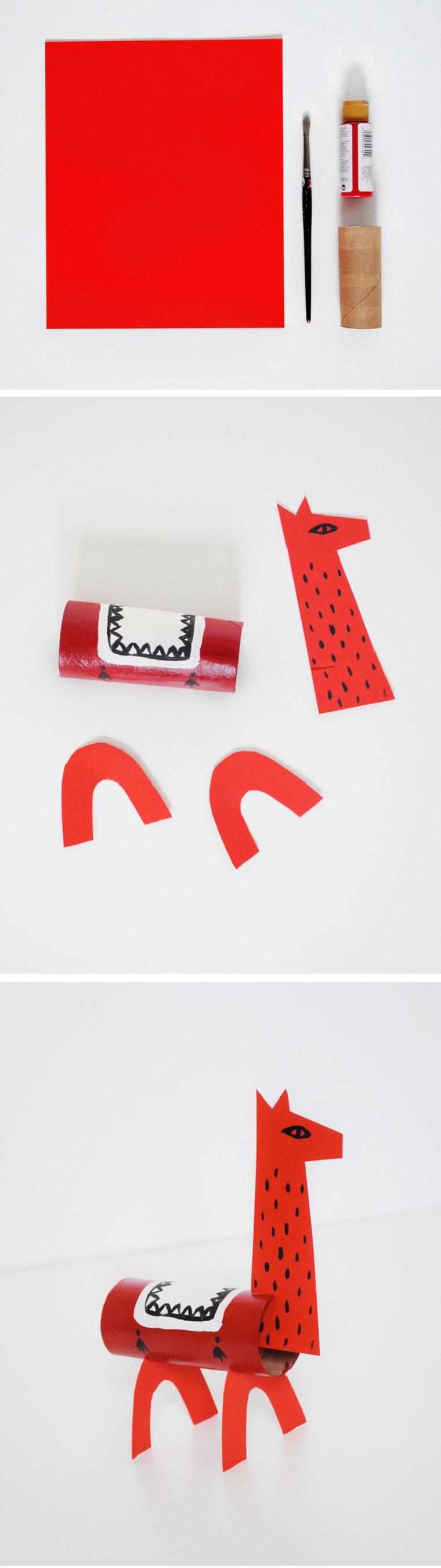 Animali con rotoli di carta igienica, tutorial lama con cartoncini colorati di rosso