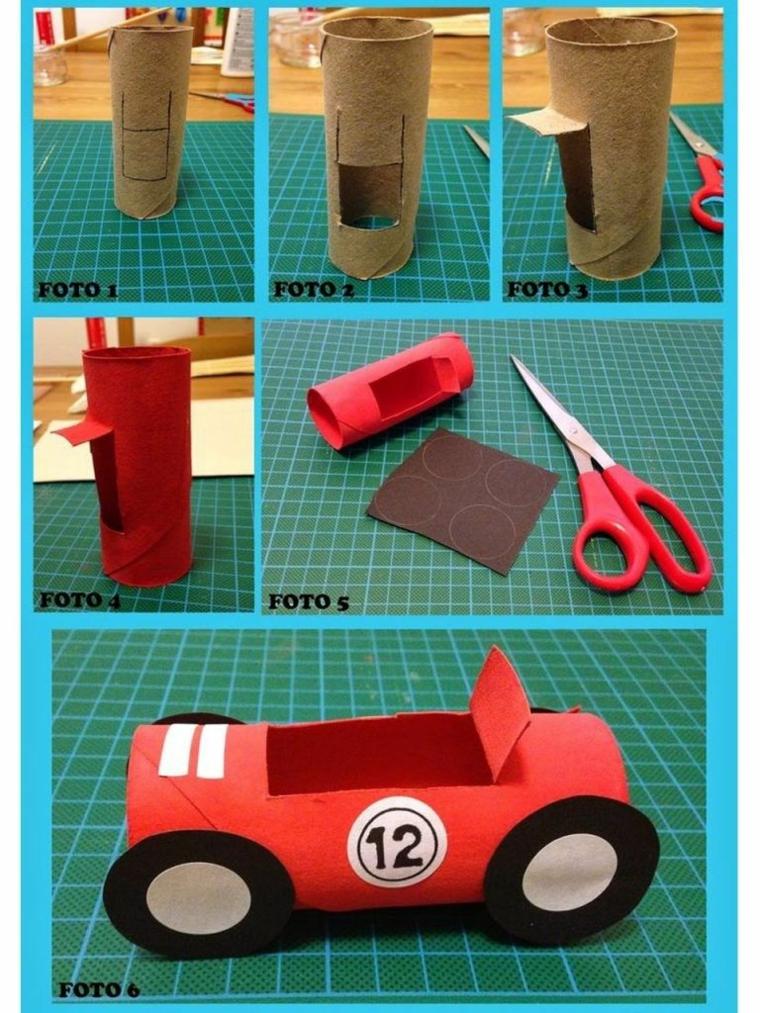 Tutorial per una macchina da un rotolo di carta igienica, lavoretti per bambini con la carta