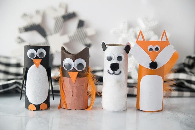 Animali con rotoli di carta igienica, animali decorati con cartoncini colorati