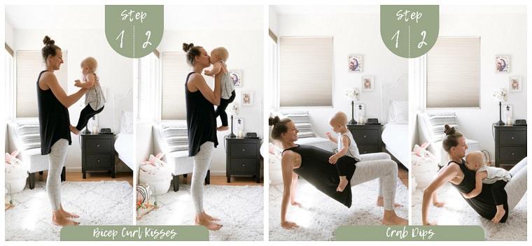Allenamento a casa, donna che si allena per gambe sul tappeto in camera con bambino