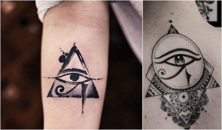 Occhio di ra tattoo, due foto di tatuaggi egiziani con disegni sull'avambraccio
