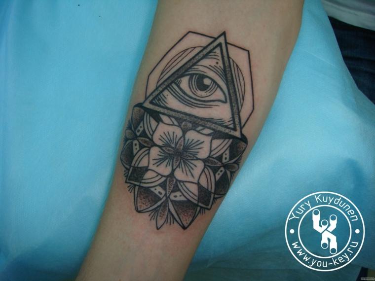 Occhio di ra tattoo, donna con un tatuaggio sull'avambraccio con disegno di motivi mandala