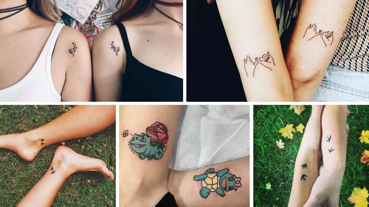 Tatuaggi sorelle, tattoo di coppia con disegni di animali e mani unite