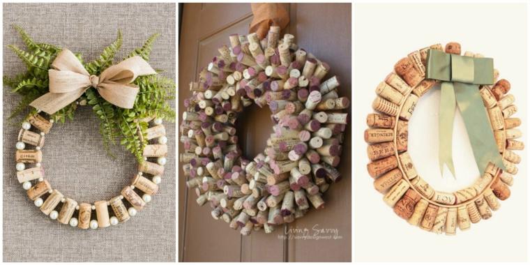 Tre foto di corone di tappi di sughero, decorazione con tappi di bottiglie di vino