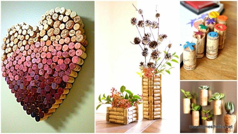 Decorazione da appendere alla parete, tappi di sughero a forma di cuore