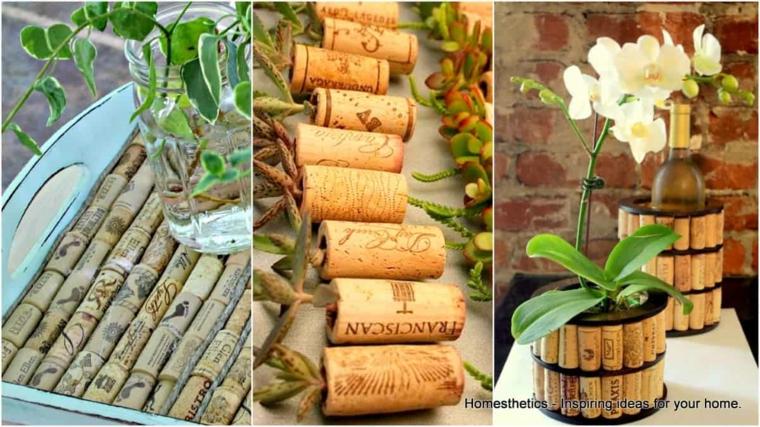 Foto con creazioni da tappi di sughero, vaso per orchidea decorato con tappi di sughero