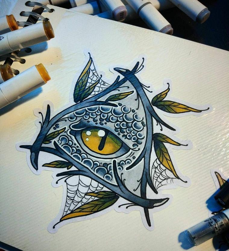 Disegno con pennarelli colorati di un occhio, tatuaggio illuminato, disegno su un foglio bianco
