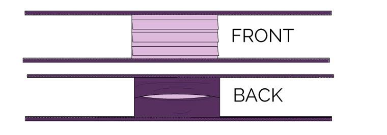 Fronte e retro di una mascherina con tasca per il filtro, disegno di una mascherina protettiva