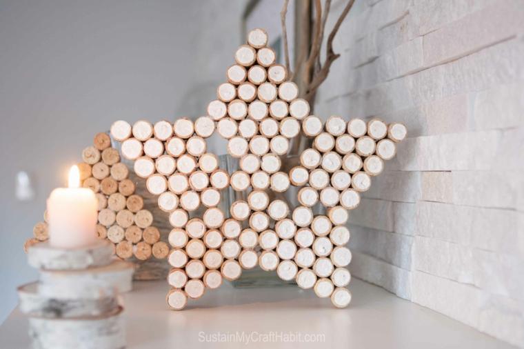 Stella con tappi di sughero, decorazione a forma di stella con tappi delle bottiglie