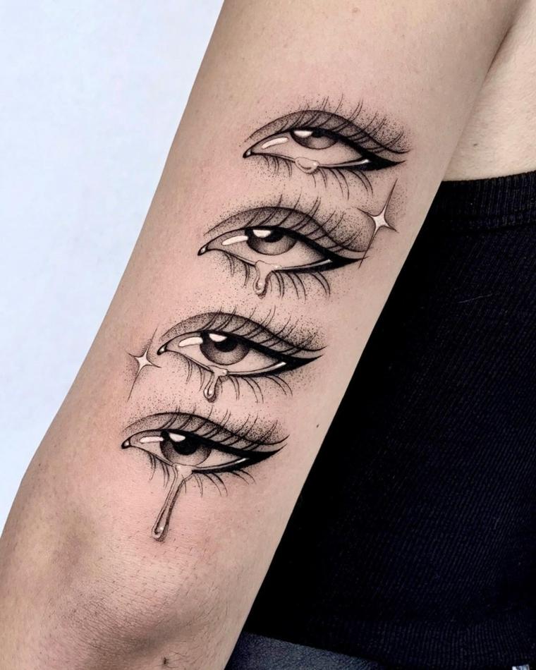 Tatuaggi sul braccio di una donna, Tattoo occhio, disegno tatuaggio occhi con lacrime
