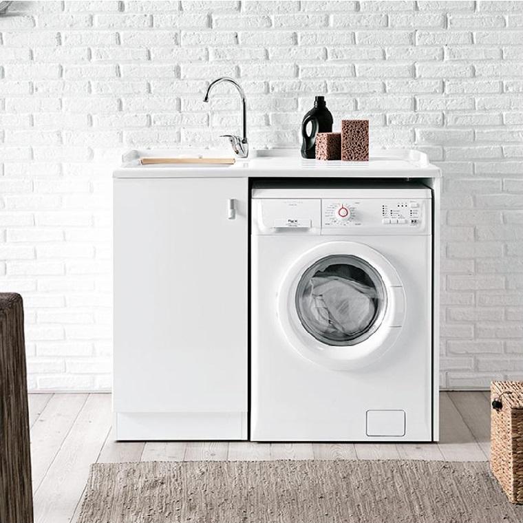 Mobile lavabo in ceramica con top prolungato per la lavatrice, lavanderia in casa