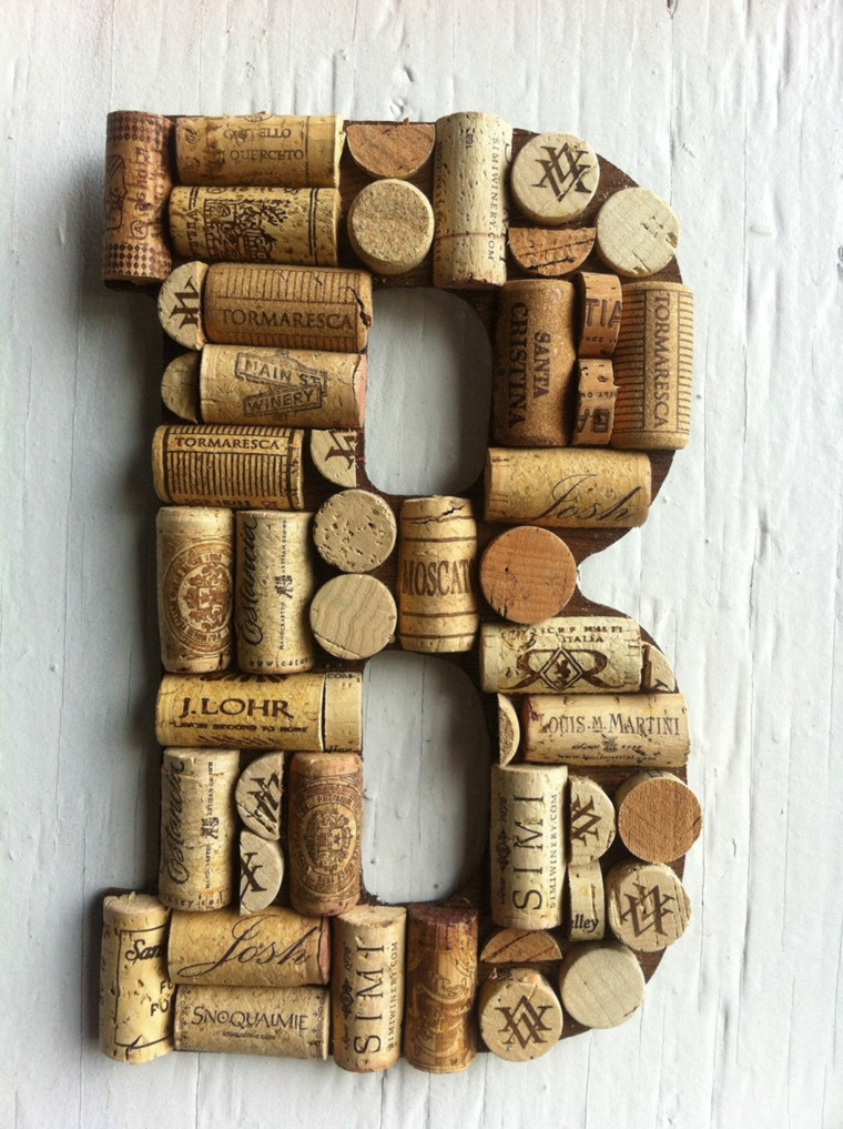 Decorazione da parete a forma di lettera B, lettera da appendere con tappi di sughero