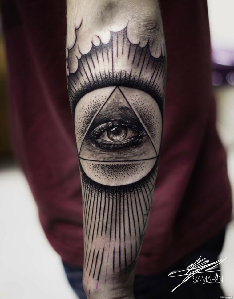 Tatuaggio occhio, braccio di un uomo con tatto disegno occhio in un triangolo