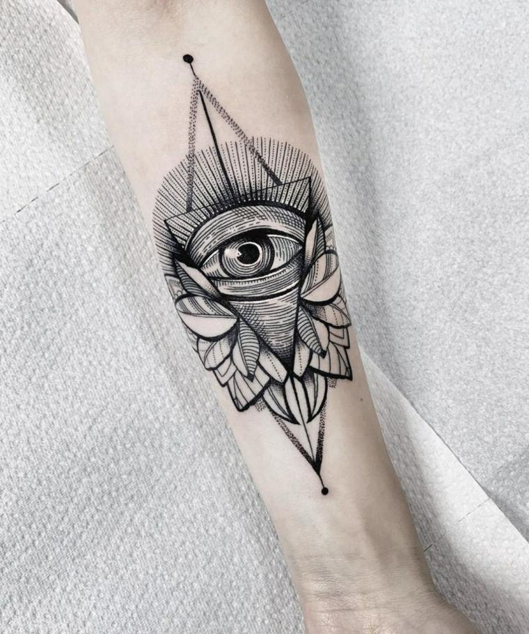 Tatuaggio triangolo con occhio, donna con un tatuaggio sull'avambraccio con disegno occhio