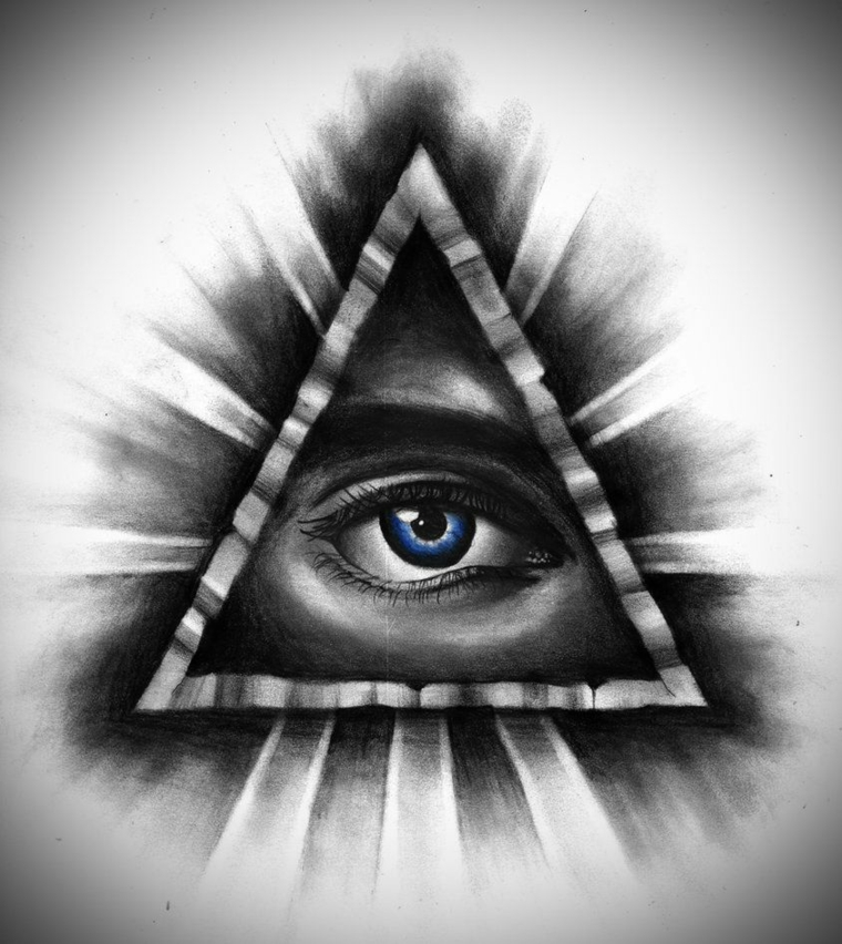 Tatuaggio illuminati, disegno di un triangolo con occhio in chiaro e scuro