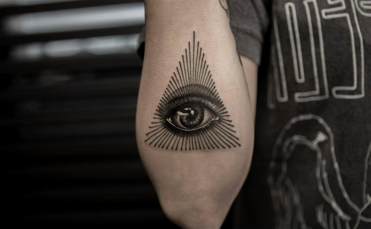 Occhio di ra significato, uomo con un tatuaggio sul braccio con disegno occhio in un triangolo