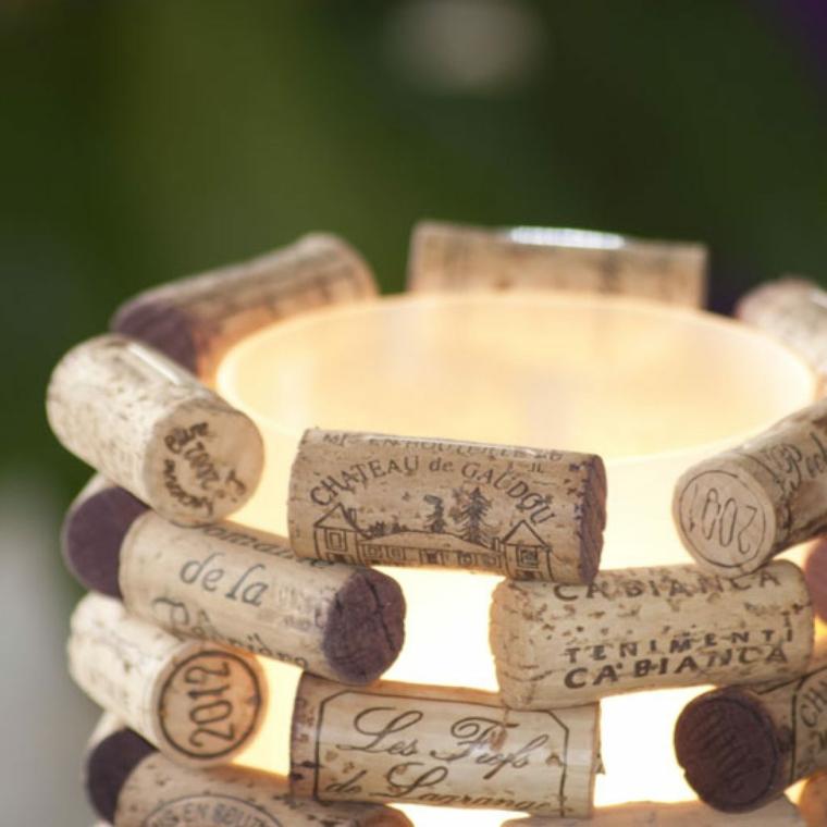 Portacandele con tappi di sughero, decorazione candele con tappi di sughero