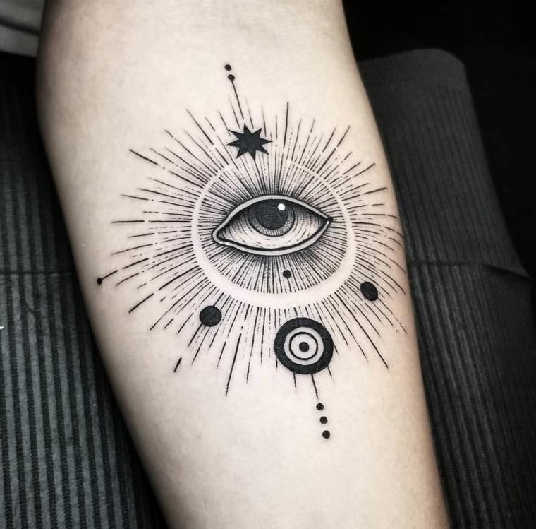Tattoo occhio, tatuaggio sull'avambraccio di un uomo con disegno di cerchio e occhio