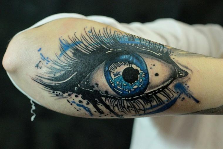 Occhio di ra significato, il braccio di un uomo con tattoo colorato sull'avambraccio