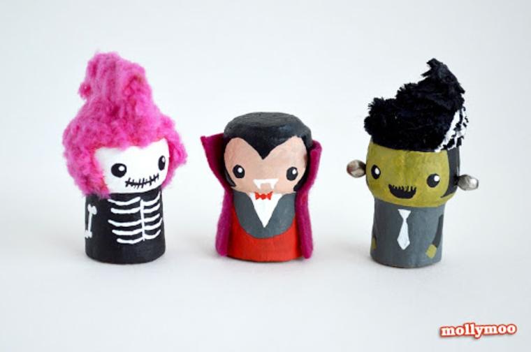 Figurine con disegni Halloween, figurine con tappi di sughero dipinte