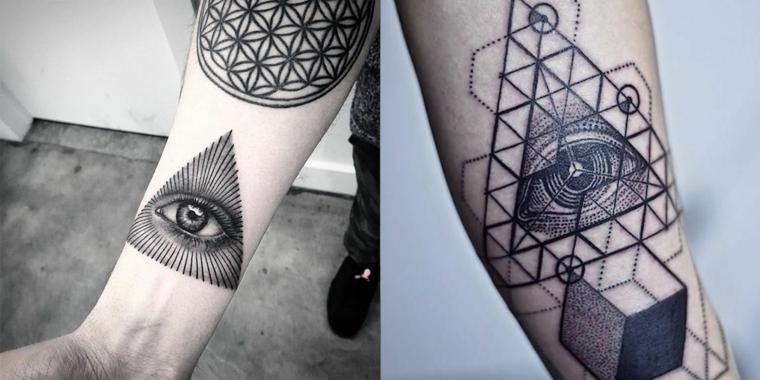 Tatuaggio triangolo con occhio, due tatuaggi di uomini con disegno di occhi