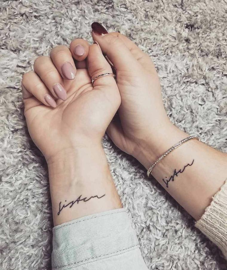 Tatuaggio sul polso della mano con scritta, tattoo per amiche da fare insieme