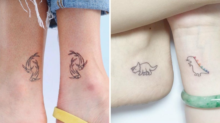 Tatuaggi migliori amiche, tattoo sulla caviglia con disegno delfini e dinosauro