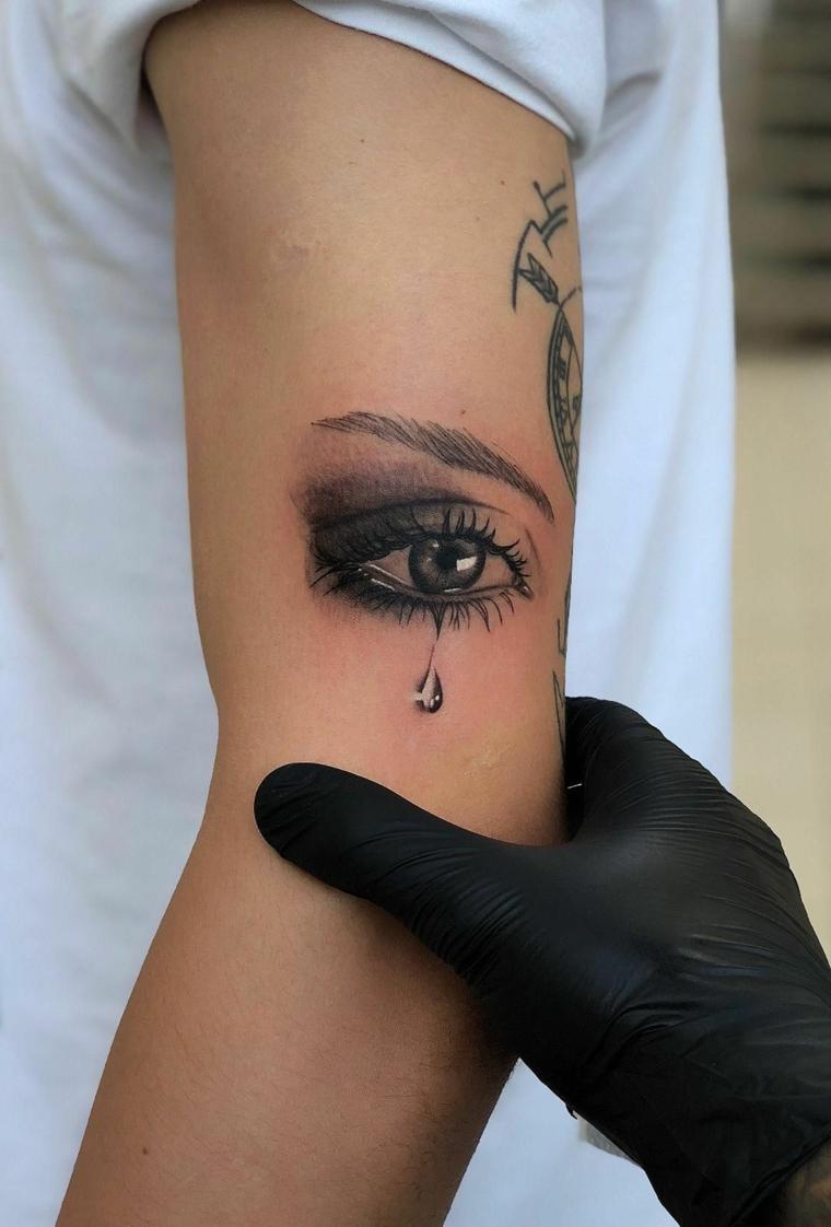 Il braccio di una donna con tatuaggio, tatuaggio occhio sull'avambraccio di una ragazza