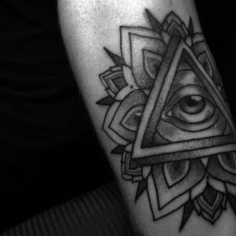 Occhio di ra tattoo, il braccio di un uomo con tattoo disegno occhio e triangolo