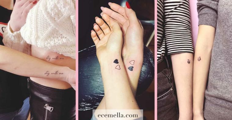 Tattoo migliori amiche, tatuaggio sul polso con disegno cuore e scritta sul polso