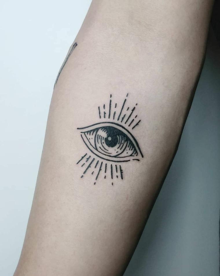 Significato occhio egizio, tatuaggio sull'avambraccio di una donna, tattoo con disegno occhio