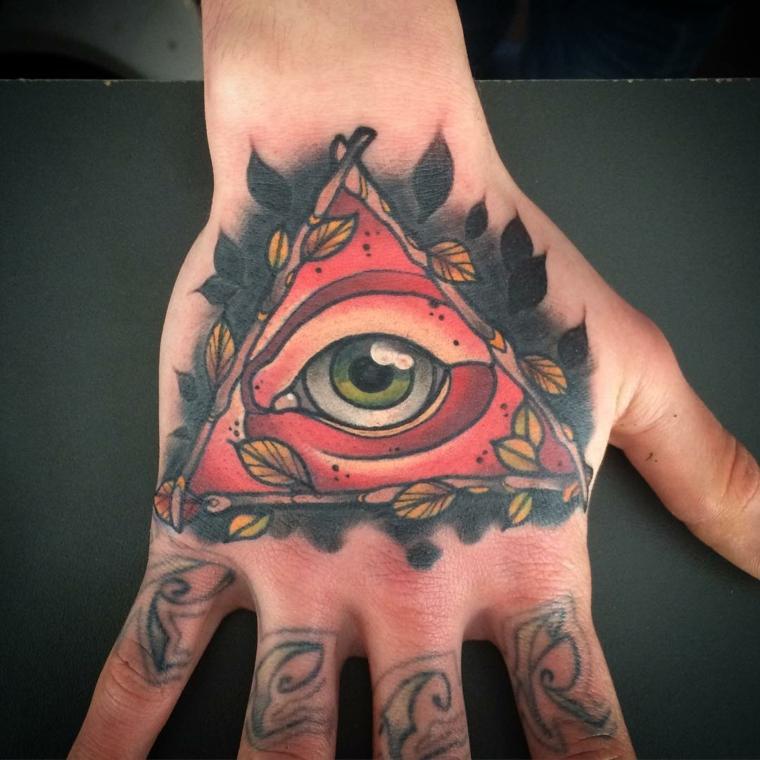 La mano di un uomo con tatuaggio, occhio tattoo old school