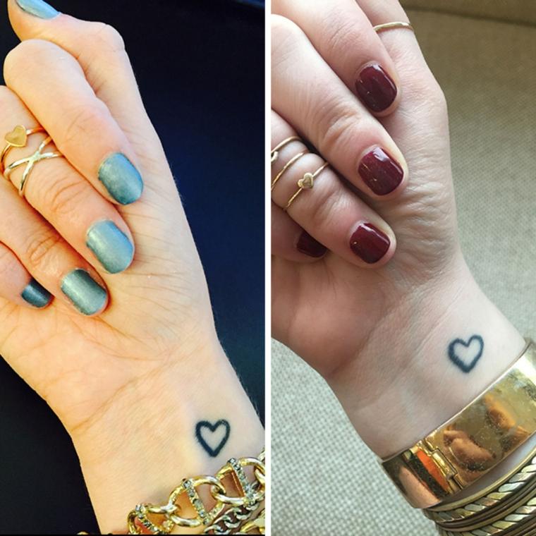 Tattoo sorelle, tatuaggio sul polso della mano con disegno di un cuore