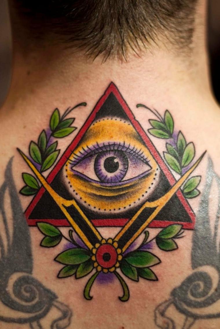 Uomo con il collo tatuato, occhio tattoo old school, uomo con tatuaggio colorato di fiori