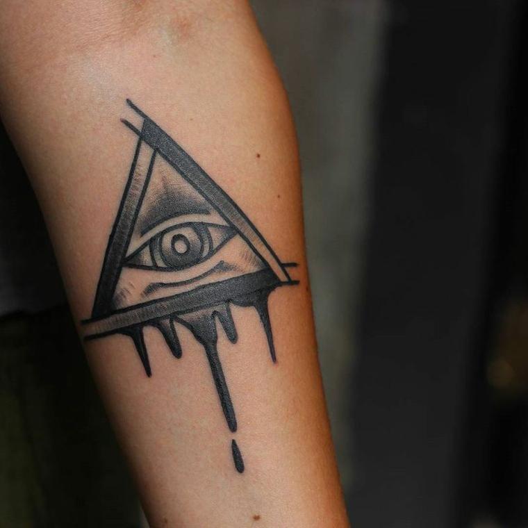 Occhio tattoo old school, tatuaggio sull'avambraccio con un disegno di occhio in triangolo