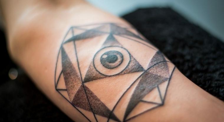 Significato occhio egizio, uomo con un tattoo sull'avambraccio, disegno occhio in un triangolo