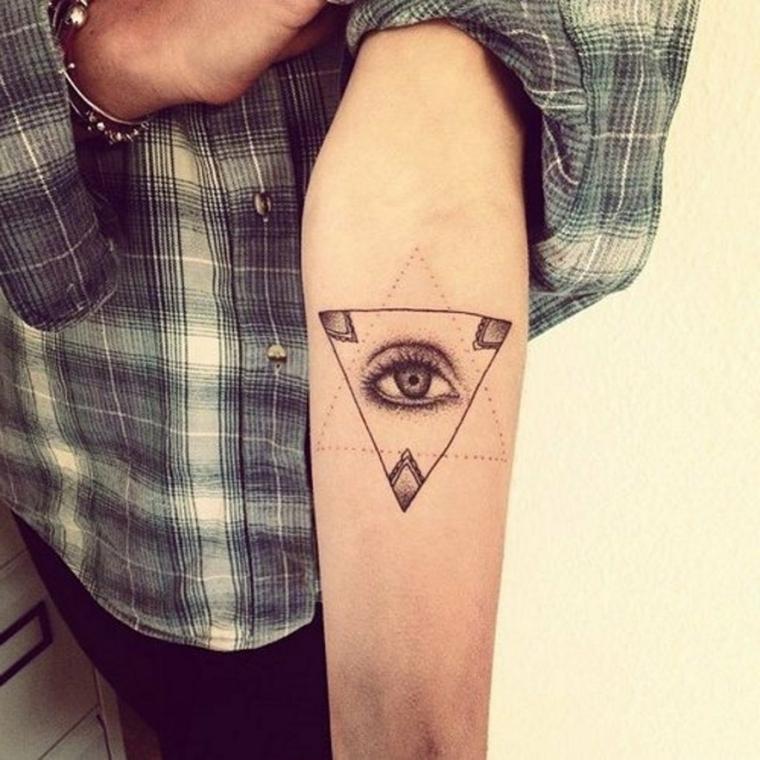 Occhio di ra significato, uomo con un tattoo sull'avambraccio, tatuaggio disegno triangolo e occhio