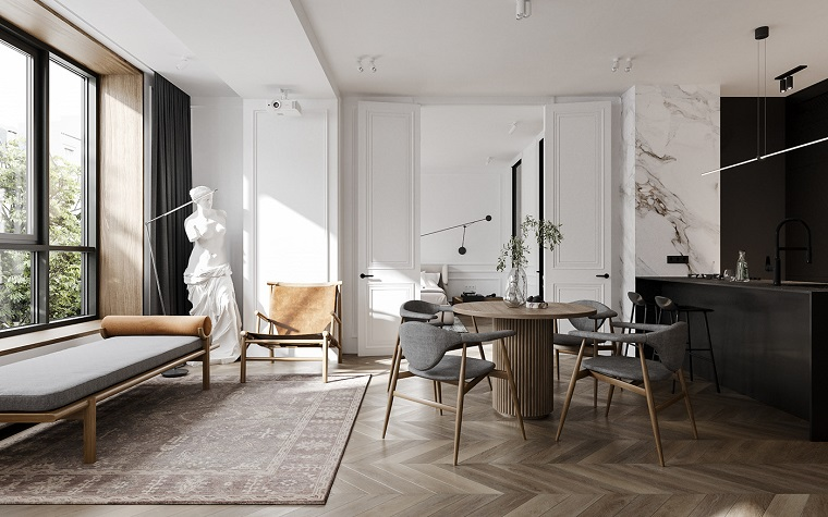 Come creare un loft, open space con cucina e sala da pranzo insieme, pavimento in legno parquet e tappeto