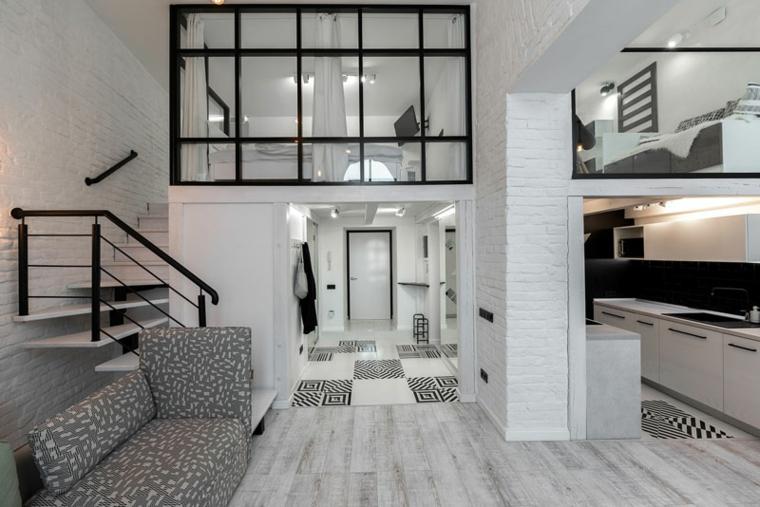 Appartamento con soppalco in vetro, cucina open space con il soggiorno
