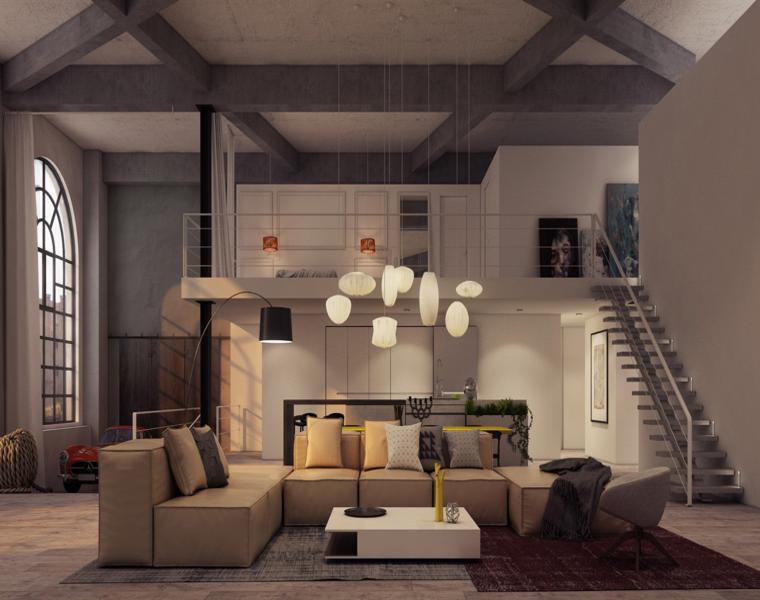 Arredare un loft, appartamento con soppalco, soggiorno con divano grigio